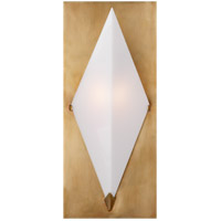 Visual Comfort KW2250AB-WG Kelly Wearstler Forma 1 Light 7 inch Antique Burnished Brass Sconce Wall Light in Antique-Burnished Brass, Kelly Wearstler, White Glass