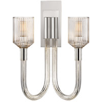 Visual Comfort KW2404CRB/PN Kelly Wearstler Reverie 2 Light 14 inch Clear Ribbed Glass and Polished Nickel Wall Sconce Wall Light