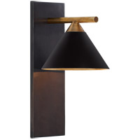 Visual Comfort KW2410BZ/AB-BLK Kelly Wearstler Cleo 1 Light 7 inch Bronze and Antique-Burnished Brass Sconce Wall Light in Black