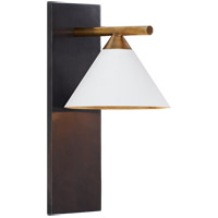 Kelly Wearstler Cleo 7 inch Bronze and Antique-Burnished Brass Sconce Wall Light in White