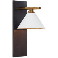 Visual Comfort KW2410BZ/AB-WHT Kelly Wearstler Cleo 7 inch Bronze Sconce Wall Light, Kelly Wearstler, White Shade