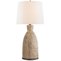 Kelly Wearstler Effie 28 inch 100 watt Sand and Blue Stripes Table Lamp Portable Light, Kelly Wearstler, Linen Shade