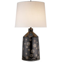 Visual Comfort Kelly Wearstler Bijou 28-inch Table Lamp in Black and Crystal Bronze Dot, Linen Shade KW3025BCB-L