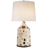 Kelly Wearstler Bijou 28 inch 100 watt Dotty Ivory and Burnt Gold Table Lamp Portable Light, Kelly Wearstler, Linen Shade