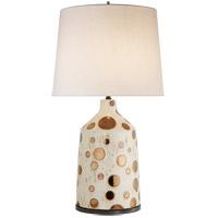 Visual Comfort KW3025IGD-L Kelly Wearstler Bijou 28 inch 100 watt Dotty Ivory and Burnt Gold Table Lamp Portable Light, Kelly Wearstler, Linen Shade