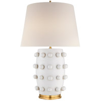 Visual Comfort KW3031PW-L Kelly Wearstler Linden 27 inch 75 watt Plaster White Table Lamp Portable Light, Medium
