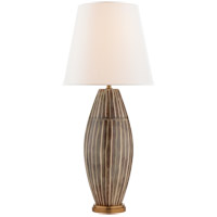 Visual Comfort Kelly Wearstler Revello 32-inch Table Lamp in Tiger Shell, Linen Shade KW3036TSH-L
