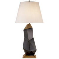 Visual Comfort KW3046BLK-L Kelly Wearstler Bayliss 32 inch 150 watt Black Porcelain Table Lamp Portable Light, Kelly Wearstler, Linen Shade