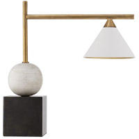Kelly Wearstler Cleo 18 inch 60 watt Bronze with Antique Brass Desk Lamp Portable Light, Kelly Wearstler, Matte White Shade