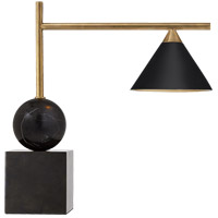 Kelly Wearstler Cleo 18 inch 60 watt Bronze and Antique-Burnished Brass Desk Lamp Portable Light in Black