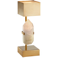 Kelly Wearstler Halcyon 18 inch 60 watt Antique Burnished Brass Desk Lamp Portable Light, Kelly Wearstler, Natural Quartz Stone, Antique Brass Shade