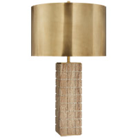Visual Comfort KW3120LIM-AB Kelly Wearstler Pietra 28 inch 60 watt Limestone Table Lamp Portable Light in Hand-Rubbed Antique Brass, Large Hand Carved