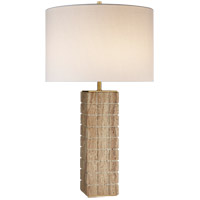 Visual Comfort KW3120LIM-L Kelly Wearstler Pietra 28 inch 60 watt Limestone Table Lamp Portable Light in Linen, Large Hand Carved