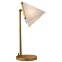 Kelly Wearstler Forma 18 inch 60 watt Antique Burnished Brass Table Lamp Portable Light in Antique-Burnished Brass, Kelly Wearstler, Round Base, White Glass