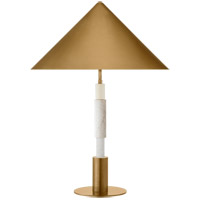 Visual Comfort KW3607AB/WM-AB Kelly Wearstler Mira 29 inch 6.5 watt Antique-Burnished Brass and White Marble Stacked Table Lamp Portable Light, Medium