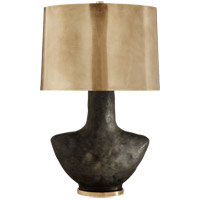 Kelly Wearstler Armato 28 inch 75 watt Stained Black Metallic Porcelain Table Lamp Portable Light in Hand-Rubbed Antique Brass