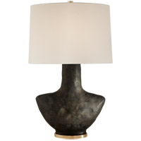 Visual Comfort KW3612SBM-L Kelly Wearstler Armato 28 inch 75 watt Stained Black Metallic Porcelain Table Lamp Portable Light in Linen