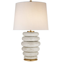 Kelly Wearstler Phoebe 30 inch 75 watt Antiqued White Ceramic Table Lamp Portable Light, Stacked
