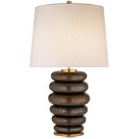Visual Comfort KW3619CBZ-L Kelly Wearstler Phoebe 29 inch 75 watt Crystal Bronze Table Lamp Portable Light in Crystal Bronze Ceramic Stacked