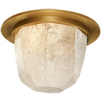 Visual Comfort KW4092AB/Q Kelly Wearstler Halcyon LED 5 inch Antique-Burnished Brass and Quartz Flush Mount Ceiling Light