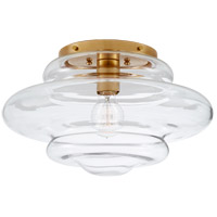 Visual Comfort KW4271AB-CG Kelly Wearstler Tableau 1 Light 15 inch Antique-Burnished Brass Flush Mount Ceiling Light in Clear Glass, Medium