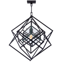 Visual Comfort Kelly Wearstler Cubist 22-inch Pendant in Aged Iron, Small, Chandelier, Clear Glass KW5020AI-CG