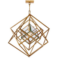 Visual Comfort Kelly Wearstler Cubist 22-inch Pendant in Gild, Small, Chandelier, Clear Glass KW5020G-CG