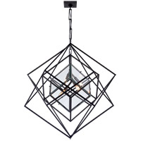 Kelly Wearstler Cubist 4 Light 31 inch Aged Iron Pendant Ceiling Light, Kelly Wearstler, Medium, Chandelier, Clear Glass