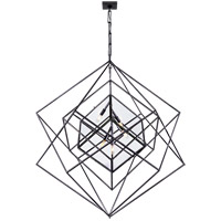 Visual Comfort Kelly Wearstler Cubist 5 Light 45-inch Pendant in Aged Iron, Large, Chandelier, Clear Glass KW5022AI-CG