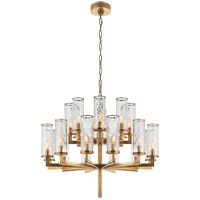 Visual Comfort Kelly Wearstler Liaison 20 Light 34-inch Chandelier in Antique-Burnished Brass, Double-Tier, Crackle Glass KW5201AB-CRG
