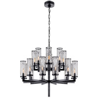 Visual Comfort Kelly Wearstler Liaison 20 Light 34-inch Chandelier in Bronze, Double-Tier, Crackle Glass KW5201BZ-CRG