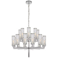 Visual Comfort Kelly Wearstler Liaison 20 Light 34-inch Chandelier in Polished Nickel, Double-Tier, Crackle Glass KW5201PN-CRG