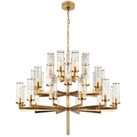 Visual Comfort Kelly Wearstler Liaison 32 Light 48-inch Chandelier in Antique-Burnished Brass, Triple-Tier, Crackle Glass KW5202AB-CRG