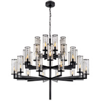 Visual Comfort Kelly Wearstler Liaison 32 Light 48-inch Chandelier in Bronze, Triple-Tier, Crackle Glass KW5202BZ-CRG