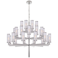 Visual Comfort Kelly Wearstler Liaison 32 Light 48-inch Chandelier in Polished Nickel, Triple-Tier, Crackle Glass KW5202PN-CRG