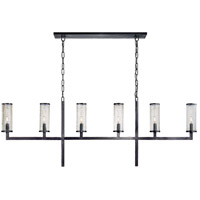 Visual Comfort KW5203BZ-CRG Kelly Wearstler Liaison 6 Light 62 inch Bronze Linear Chandelier Ceiling Light Large