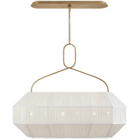 Visual Comfort KW5317AB-L Kelly Wearstler Forza 6 Light 40 inch Antique-Burnished Brass Linear Lantern Ceiling Light Medium Gathered
