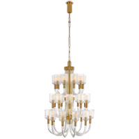 Visual Comfort KW5406CRB/AB Kelly Wearstler Reverie 30 Light 28 inch Clear Ribbed Glass and Brass Chandelier Ceiling Light in Antique-Burnished Brass