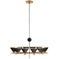 Kelly Wearstler Cleo 12 Light 37 inch Antique-Burnished Brass Chandelier Ceiling Light in Black, Large