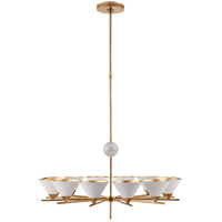 Visual Comfort KW5511AB-WHT Kelly Wearstler Cleo 12 Light 37 inch Antique-Burnished Brass Chandelier Ceiling Light in White