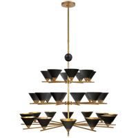 Kelly Wearstler Cleo 2 Light 49 inch Antique-Burnished Brass and Black Marble Chandelier Ceiling Light, Three-Tier