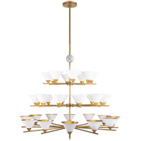 Kelly Wearstler Cleo 32 Light 49 inch Antique-Burnished Brass and White Marble Chandelier Ceiling Light