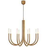 Visual Comfort KW5581AB-EC Kelly Wearstler Rousseau LED 39 inch Antique-Burnished Brass Chandelier Ceiling Light in Etched Crystal, Medium