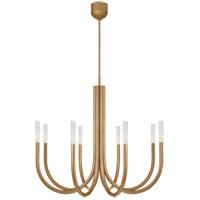 Visual Comfort KW5581AB-SG Kelly Wearstler Rousseau LED 39 inch Antique-Burnished Brass Chandelier Ceiling Light in Seeded Glass, Medium