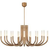 Visual Comfort KW5585AB-EC Kelly Wearstler Rousseau LED 50 inch Antique-Burnished Brass Chandelier Ceiling Light in Etched Crystal, Large