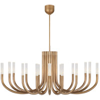 Visual Comfort KW5585AB-SG Kelly Wearstler Rousseau LED 50 inch Antique-Burnished Brass Chandelier Ceiling Light in Seeded Glass, Large
