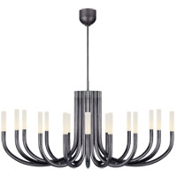 Visual Comfort KW5585BZ-EC Kelly Wearstler Rousseau LED 50 inch Bronze Chandelier Ceiling Light in Etched Crystal, Large