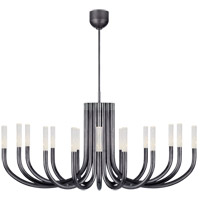 Visual Comfort KW5585BZ-SG Kelly Wearstler Rousseau LED 50 inch Bronze Chandelier Ceiling Light in Seeded Glass Large