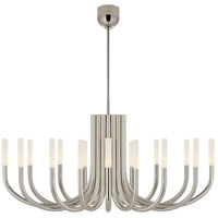 Visual Comfort KW5585PN-EC Kelly Wearstler Rousseau LED 50 inch Polished Nickel Chandelier Ceiling Light in Etched Crystal Large