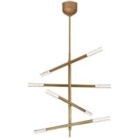 Visual Comfort KW5592AB-SG Kelly Wearstler Rousseau LED 32 inch Antique-Burnished Brass Articulating Chandelier Ceiling Light Medium